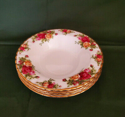 4 Royal Albert Old Country Roses Soup Cereal Bowls, 1st Quality England