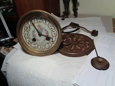 "Antique-French Clock Movement ""Japy"" Outstanding Dial-Ca.1890-To Restore-#K9A"