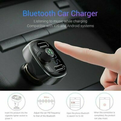 Baseus Handsfree Wireless Bluetooth FM Transmitter Car Kit Dual USB Charger TU