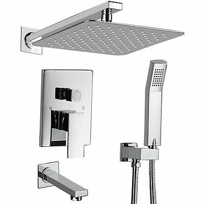 "Chrome Shower Faucet Set Valve with Tub Filler Tap and 10"" Rainfall Shower Head"