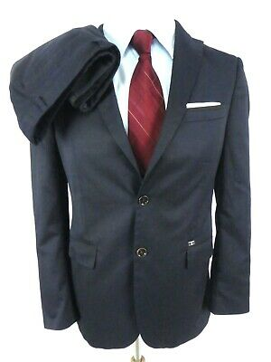 Zara Man Men's Suit US 40 Tailored Fit Navy Blue Cotton Blend 2-Btn Flat Front