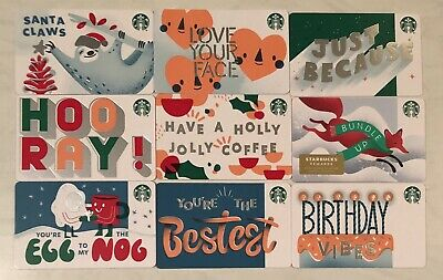 Starbucks 2019 Christmas Holiday Barcode 9 Recycled Paper Card Lot Set Collect