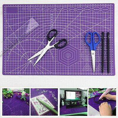 Cutting Mat Self Healing A3 Double Sided Craft Quilting Printed Grid Purple