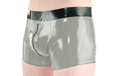 New men's Latex black shorts side and smoke Gray with zipper Shorts Size S-XXL