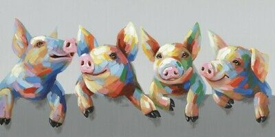 4 Pigs Pig Farm Animal Stretched Canvas Print Wall Art Farm Décor 100x50cm