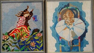 TWO SWEET and DELIGHTFUL EMBROIDERED DANCING MAIDENS FANTASIES!!