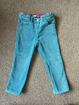 John Lewis Girls Turquoise Cord Trousers Age 2-3 Years