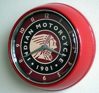 Indian Motorcycles Themed Retro Style Metal Cased Diner Style Wall Clock.
