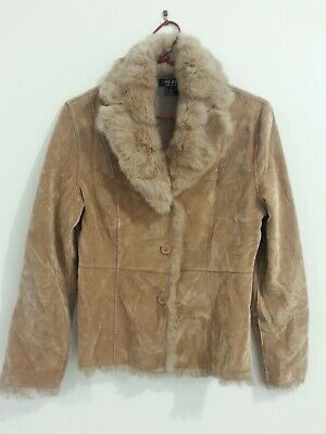 Camel taupe tan Red Berry Jacket coat faux suede & fur brand new