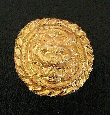 Ancient Roman Solid Gold Funerary Medallion From Roman Tomb - Spanish Lynx