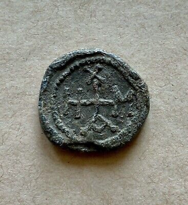 Byzantine lead seal/siegel of Michael officer with depiction of Mother of God.