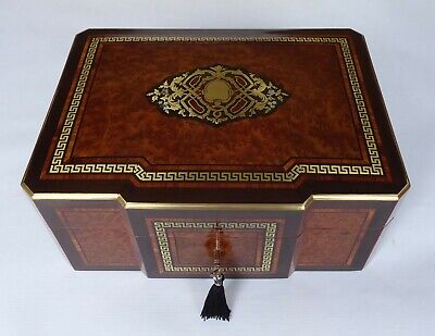 Rare Antique French Step Fronted Thuya Burr & Tulipwood, inlaid Jewellery Box