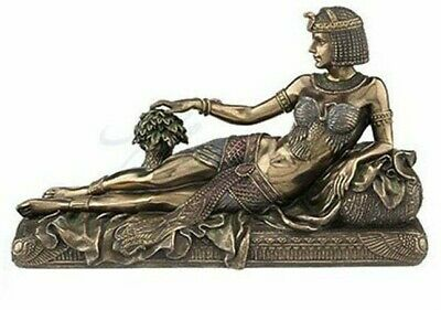 Queen Cleopatra Statue on Sofa Ancient Egyptian Bronze Sculpture  10.65""