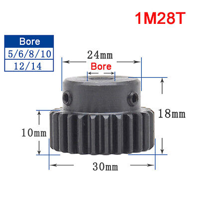 1 Mod 28T 45# Steel Precision Spur Gear With Step Motor Pinion Transmission Gear