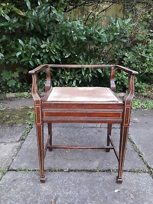 Antique piano stool  seat  with storage