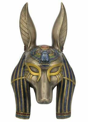 Egyptian God ANUBIS MASK Sculpture Bronze Art Egyptian Bust Statue 10.65""