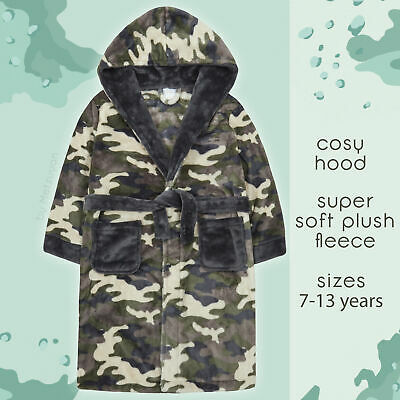 Kids Boys Camo Dressing Gown Camouflage Print Hooded Bathrobe for Boys Fleece UK