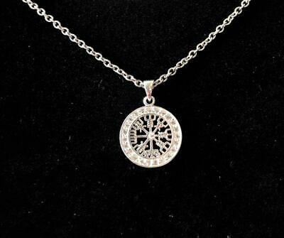 925 Sterling Silver Norse Viking Compass Vegvisir Pendant Necklace + FREE Chain