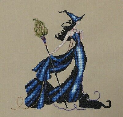 Completed Finished Cross Stitch Mirabilia Bewitching Pixies Gigi Halloween Witch