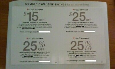 Macy's coupons $15 off, $25 off, 25% off X2 , expire 1/1/20