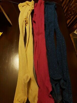 3 Pairs Of Girl's Tights Age 9-10 Years, glittery pink, blue and gold.