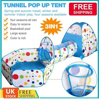 Portable 3 in 1 Kids Baby Play Tent Tunnel Ball Pit Playhouse Ocean Ball Pool UK