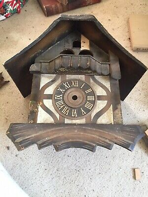 "Musical Black Forest Cuckoo Clock Case  9"" By 11"" Parts Or Restoration"