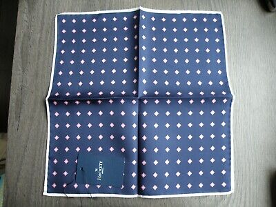 New Hackett Silk Navy Pochette Pocket Square Handkerchief Made In Italy