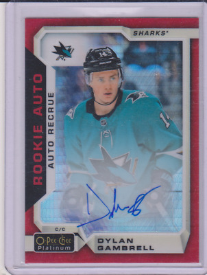 Dylan Gambrell OPC Platinum Rookie Red Prism Auto /50 2018-19 #R-DG Sharks