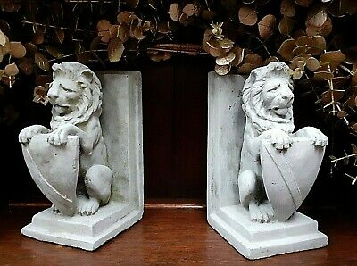 Pair Stone Rustic Lion Statue Shield Bookends Ornaments Indoor Outdoor Figurine