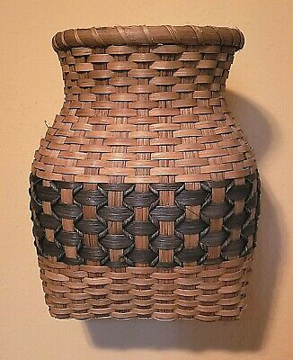 Vintage Ash Wood Wall Basket Splint IndigoBlue Woven Hourglass Primitive Hanging