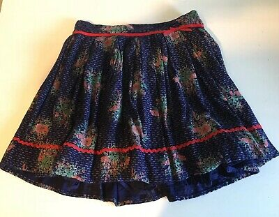Lovely Girls Monsoon Skirt Age 11-12 Party Casual Floral Purple/Blue Bow Lining