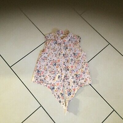 Girls Next sleeveless pink floral cotton tie shirt age 3 years