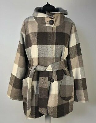 RED HERRING Size UK 14 Brown Checked Patterned Wool Blend Autumnal  Jacket