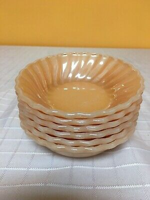 Fire King Peach Lustre Berry Bowls Swirl Bowls Lot Of 6