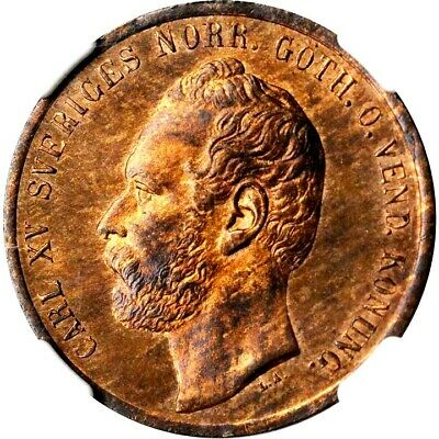 1862 Sweden 5 Ore, NGC MS 64 Red Brown, KM 707, Finest @ ngc, Star Variety