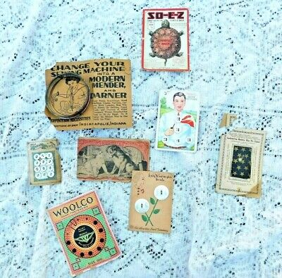 COLLECTION OF 8 ANTIQUE EARLY 1900's SEWING NOTIONS BUTTONS ETC...