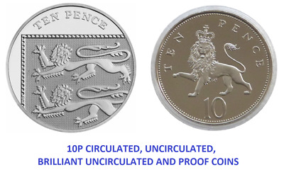10p Ten Pence Coin Royal Shield, Britannia Lion 1992 - 2019 UK Royal Mint coins
