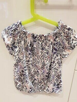 Next Girls Age 3 Mainly White and Blue Pattern Top Very Good Condition