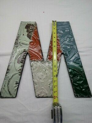"""Architectural Salvage Art- Letter """"M""""(or """"W"""") Metal & Wood Materials"""