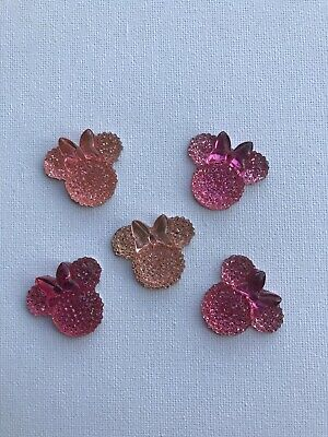 Flat Back Embellishments Sparkly Minnie Mouse Pink Hair Bows