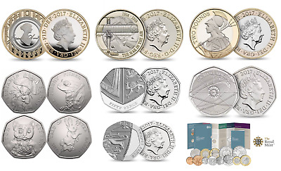2017 coins 1p 2p 5p 10p 20p 50p pence £1 £2 £5 pound coin and royal mint uk sets