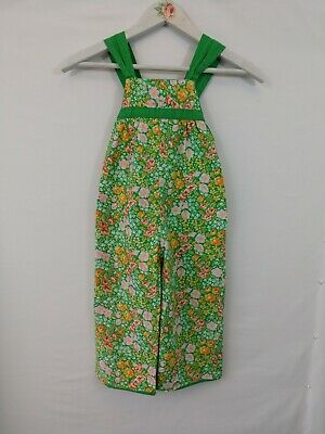 Vintage Child Romper Handmade Cotton Reversible Floral and Green With Polka Dots