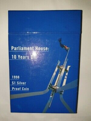 "1998 ""Parliament House - 10 Years On""  $1,  99.9% Silver Proof Dollar Coin"