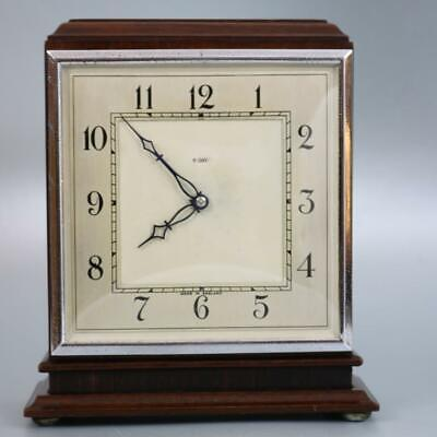 ART DECO ENGLISH MANTEL CLOCK rosewood and mahogany with chrome CLASSY TIMEPIECE