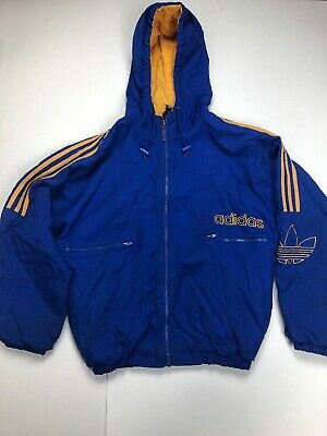 Vintage Adidas Jacket Youth Large 90's Blue & Yellow Tre Foil Parka Winter Coat