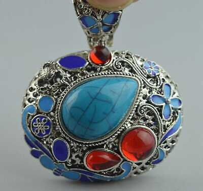 Collectable Old Handwork Miao Silver Carve Flower Inlay Turquoise Tibet Pendant