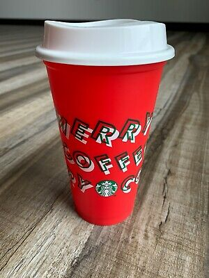 """Starbucks 2019 LIMITED EDITION RED Reusable Cup Grande 16oz """"MERRY COFFEE"""" RARE"""
