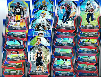 25-  2019 Panini Prizm RED WHITE BLUE REFRACTOR w/ RC Football CARDS LOT SP