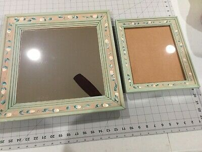 Set of 2 Farmhouse Shabby Chic Sage Green Wall Mirror & Frame